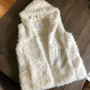 The softest furry vest with hood from Target